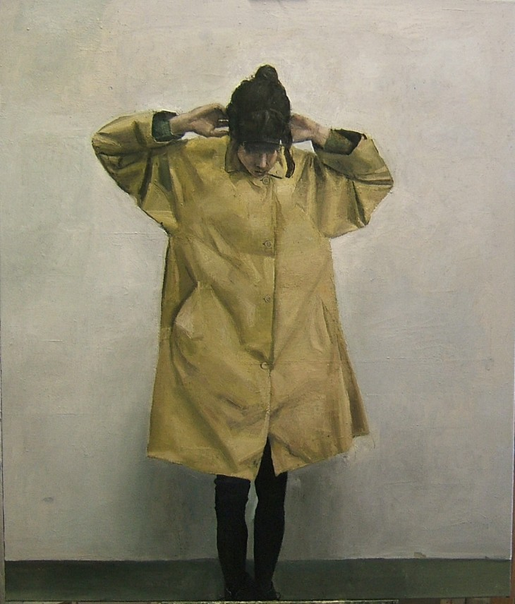 KARINA IN A RAINCOAT 2015 124 x 104 cms oil on canvas