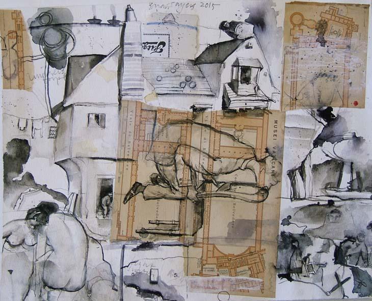 EN PLEIN AIR 2015 28 x 35 cms mixed media on paper