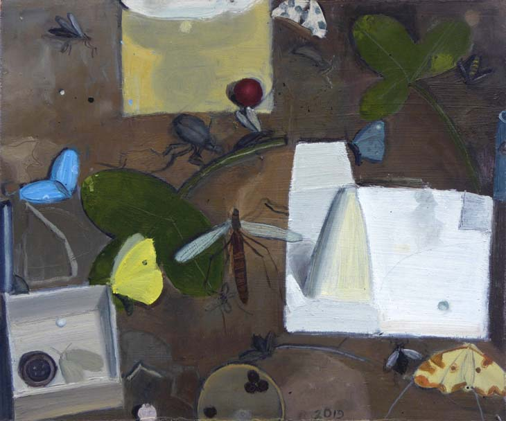 INSECTS (to JK) 2020 25 x30 cms oil on panel