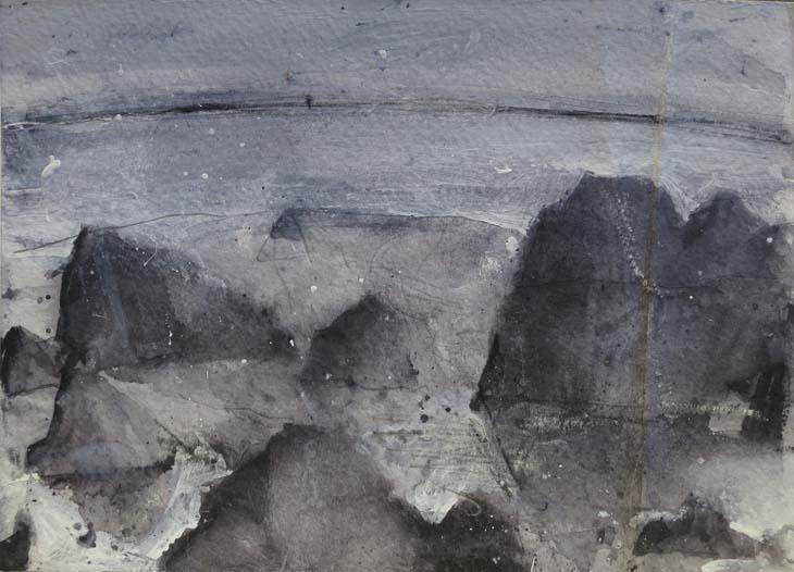 ROCKY LANDSCAPE 2016 watercolour on paper 14 X 19 cms