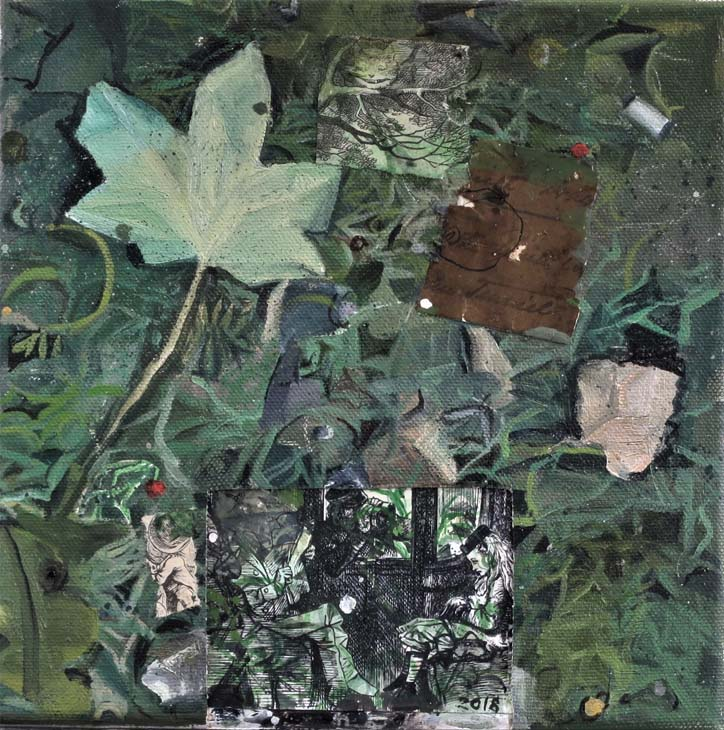 SAYERS a small patch of grass oil & collage on canvas 20 x 20 cms 2018 (2)