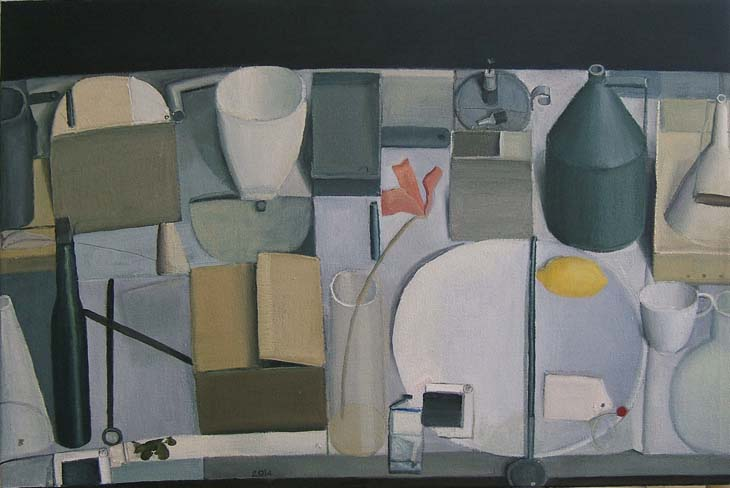 STILL LIFE WITH RED LILY 2014 oil on canvas 61 x 90cms