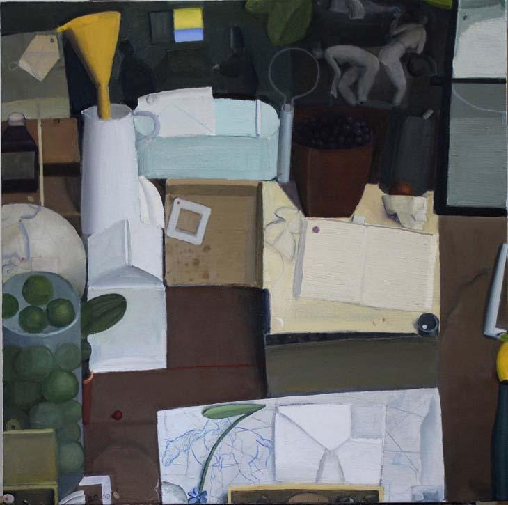 STILL LIFE with CONJUROR 2020 oil on canvas 60 x 60 cms