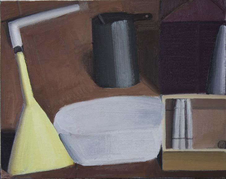 STILL LIFE with PURPLE BOX oil on canvas 28 x 35 cms