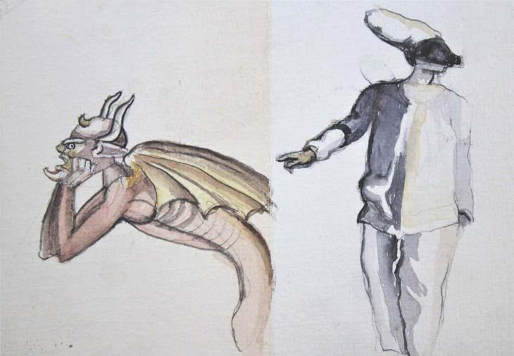 THE DEVIL & PULCINELLA 2015 watercolour on paper 10 x 14 cms