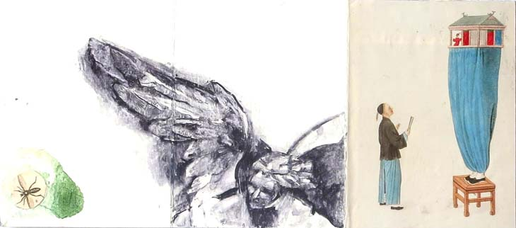 WINGED CREATURES 2015 mixed media on paper 10 x 22 cms